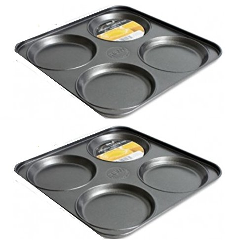 2 x 4 Cup Carbon Steel Non Stick Shallow Yorkshire Pudding Baking Tray 23 x 23 x 2cm RSW