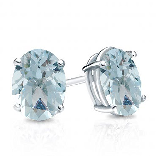 Aquamarine Solitaire Oval - Dazzlingrock Collection 14K 6x4 mm each Oval Cut Aquamarine Ladies Solitaire Stud Earrings, White Gold