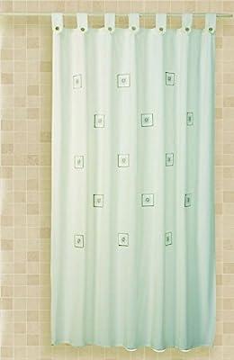Cortina de baño bordada con trabillas Cloe 35%algodón 65%poliéster ...