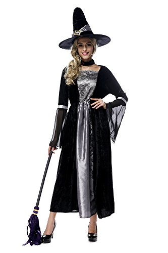 [Oxfox Halloween Costume Women Witch Outfits Ladies Sorcery Party Cosplay Silver] (Halloween Storybook Costumes)