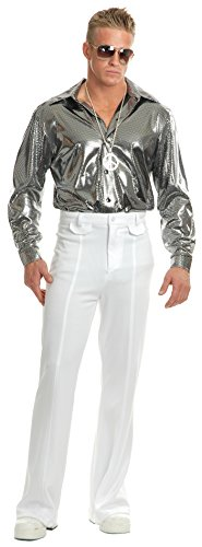 Mens Large 42-44 Metallic Silver Disco Costume Shirt -