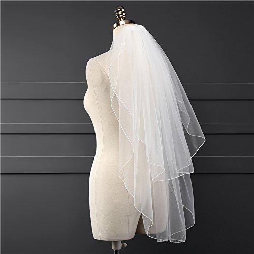 Veilbridal Short 2 Tiers Mantillas Veils With Blusher Catholic Wedding Veils For Brides