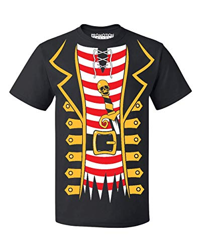 Promotion & Beyond Pirate Tuxedo Skull Sword Halloween Costume Men's T-Shirt, L, Black -