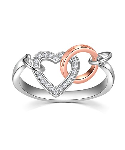 Gold Heart Fashion Ring (S925 Sterling Sliver Rings for Women, Interlocking Heart and Rose Gold Circles Fashion Rings)