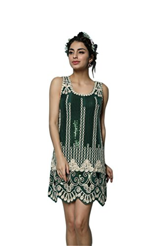 Whitewed 1920s Flapper Great Gatsby Fancy Dress Costumes Vintage Green,One Size ()