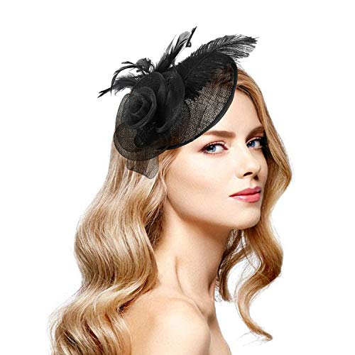Acecharming Fascinators for Women, Feather Sinamay Fascinators with