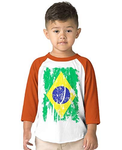 SpiritForged Apparel Brazil Distressed Flag Toddler 3/4 Raglan Shirt, Orange 4T