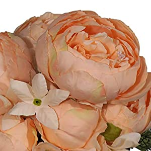 EZFLOWERY 2 Pack Artificial Peony Silk Flowers Arrangement Bouquet for Wedding Centerpiece Room Party Home Decoration, Elegant Vintage, Perfect for Spring, Summer and Occasions (2, Light Orange) 2