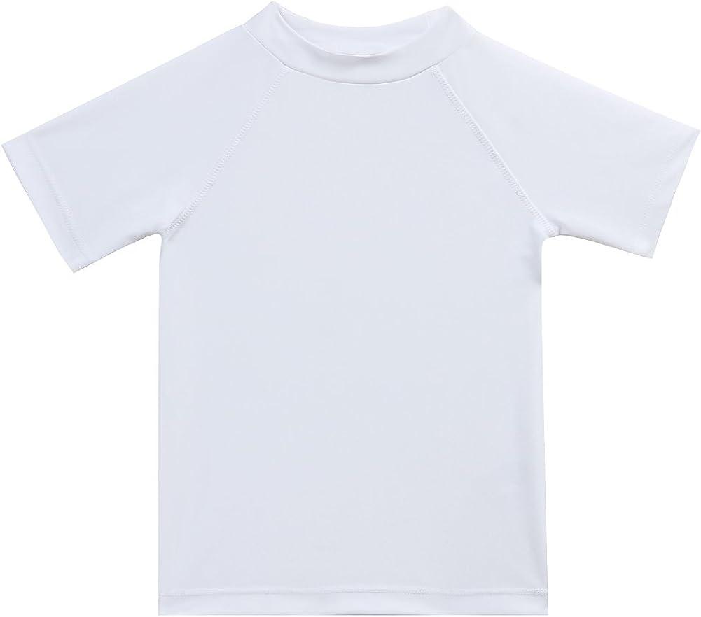 pour Enfants S/échage Rapide LACOFIA T-Shirt de Bain /à Manches Courtes pour Gar/çons Maillots de Bain Protection Solaire UPF50