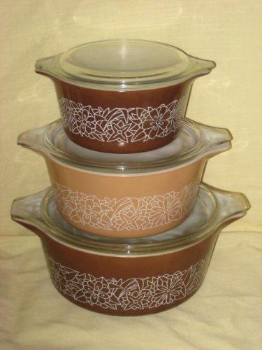 6 Piece Set - Vintage 1978 Pyrex Woodland Brown & Beige Cinderella Casserole Baking Dish w/ Clear Glass Lids - 2 1/2 Litre, 1 1/2 Litre & 1 Litre
