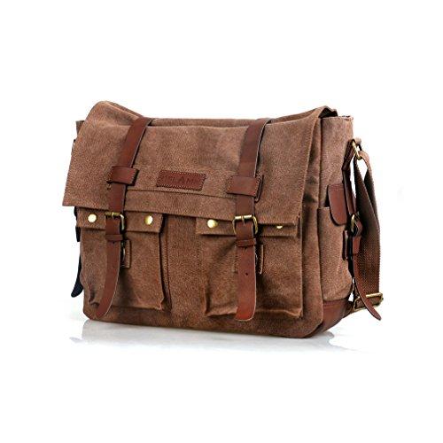 Oflamn Vintage Messenger Bag, Leather Canvas Shoulder Bag for Laptops Up to 15 Inches (Brown, 15.6