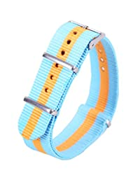 22mm Sky Blue/Orange High-end Nato style Superb Nylon Watch Band Strap Replacement for Men Braided
