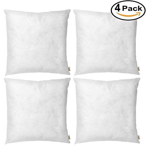 HOSL 4 Pack Square Sofa Decorative Throw Pillow Insert, 18 x