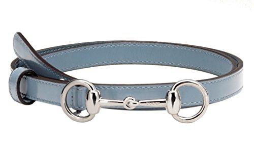 Gucci Women's Sky Blue Leather Horsebit Buckle Skinny Belt, 36, (Horsebit Buckle Belt)
