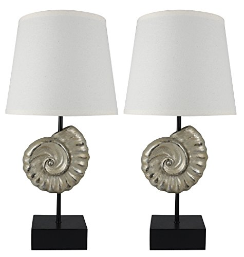 - Urbanest Set of 2 Nautilus Table Lamps, Dusty Silver