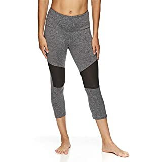 HEAD Women's High Waisted Capri Workout Leggings - Crop Activewear Gym & Running Pants - Competition Charcoal Heather, X-Large