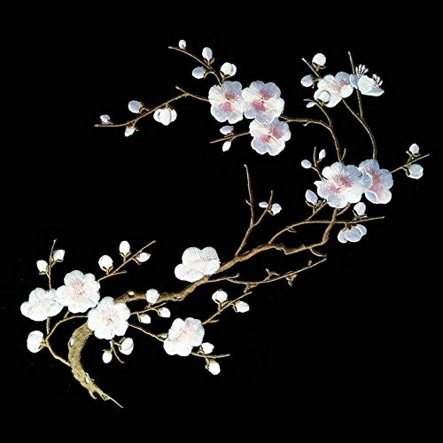 (1pcs Big Plum Blossom Iron On Patches Embroidery Flower Appliques 14.1