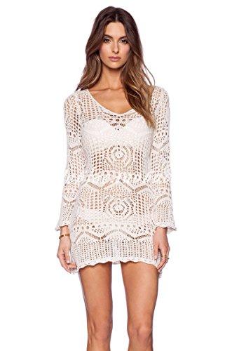 NRTSS Women#039s Bathing Suit Cover up Crochet Lace Bikini Swimsuit Dress Medium White