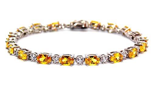 Argent 925/1000Citrine et Bracelet de Tennis de diamant 7.86CT (Argent 925)
