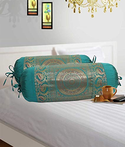 Stylo Culture Indian Polydupion Cylindrical Tube Pillow Bolster Pillow Covers Green Jacquard Brocade Border Mandala Large Couch Round Cylinder Cushion Covers (Set of 2) | 30x15 Inches (76x38 cm)