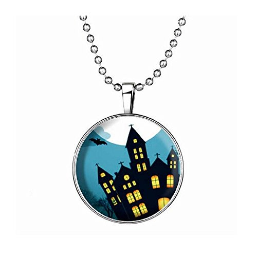 [Fariishta Jewelry Halloween Ghost Fortress Noctilucent Pendant Necklace] (Easy Male Halloween Costumes Homemade)