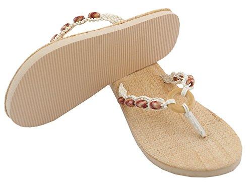 Zehentrenner Damen Sandalette mit Bastsohle und Holzperlen Beige Natur Sand