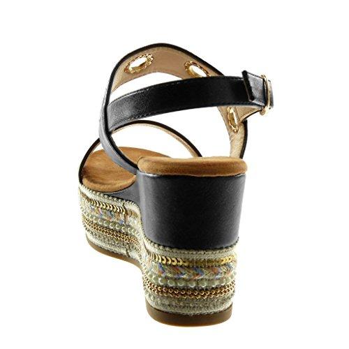 Folk Plataforma de Tobillo Mujer Zapatillas Brillantes Angkorly Mules Perforado Moda Fantas Sandalias Correa w8xqO0X