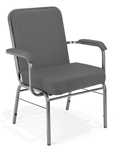 Class Stack Silver Vein Frame - OFM Big and Tall Comfort Class Series Fabric Arm Chair, Gray