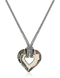 "Italian Rhodium Plated Sterling Silver Smokey Swarovski Crystal Heart Necklace, 17.5""+2"" Extender"