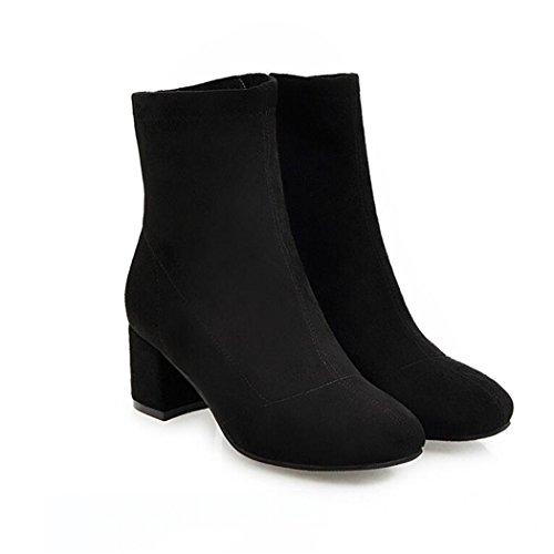 para hembra invierno y elegante El el lado black el con cilindro versátil la rugoso otoño un botas QX minimalista cabeza ZQ de y botas corto FxwYqXFg