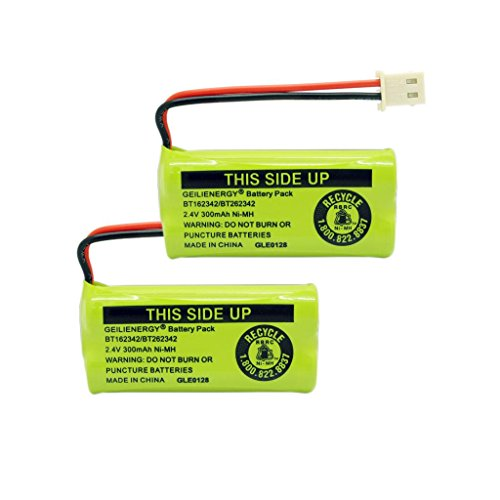 GEILIENERGY 2.4V 400mAh Cordless Home Phone Battery for AT&T BT162342 BT-162342 BT166342 BT-166342 BT266342 BT-266342 BT183342 BT-183342 BT283342 BT-283342 VTech CS6719-2 Cordless Handsets(Pack of 2)