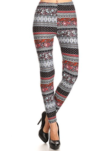 - Leggings Mania Women's Floral Border Print High Waist Soft Leggings Rust Multi
