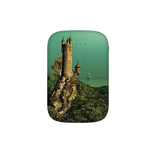 Tower of Magician on Hill with Flower Meadow Greenery Fairytale Portable Charger 6000mAh Power Bank External Battery Backup Pack Fast Charger for iPhone,Samsung Galaxy and More