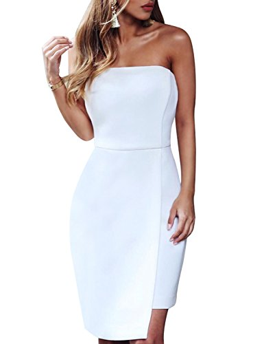 Strapless Bandage - Hego Women's White Asymmetric Hem Strapless Bandage Party Dress H5414 (White, L)