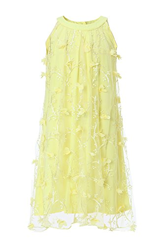 Emma Riley Girls' Embroidered Tulle Halter Dress Party Wedding Birthday 6 (Girls Dress Yellow)