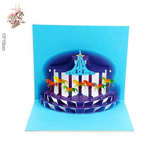 Cards & Invitations - Halloween Day Handmade 3d Carousel Dream Pleasure Ground Pop Up Gift Happy Birthday Greeting Cards - Kitchen Card Jukebox Bat Music Year Postcard Park Carousel Music Po -