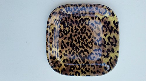 Jaguar Animal Print Melamine Appetizer Tapas Cocktail Plates Boxed Set of Six