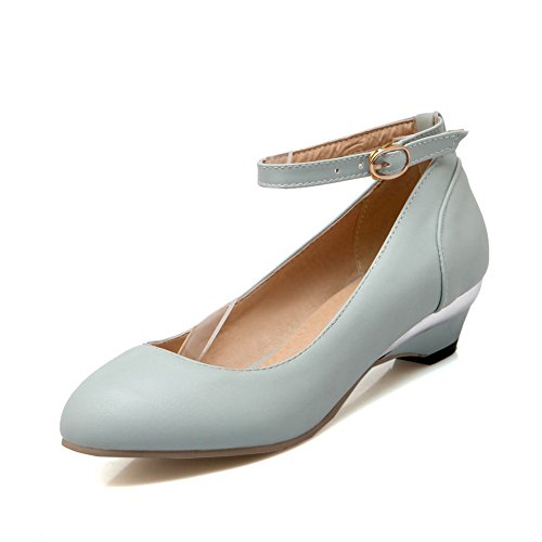 BalaMasa Womens Buckle Wedges Round-Toe Lightblue Urethane Pumps-Shoes - 8 B(M) US
