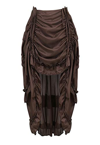 (Zhitunemi Women's Steampunk Skirt Ruffle High Low Outfits Gothic Plus Size Pirate Dressing Coffee)