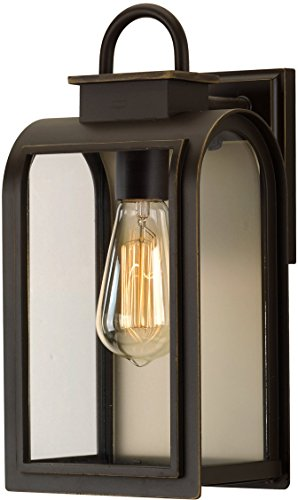 Luxury Art Deco Outdoor Wall Light, Medium Size: 13.25''H x 6.5''W, with Farmhouse Style Elements, Oil Rubbed Bronze Finish, UHP1100 from The Chesterfield Collection by Urban Ambiance by Urban Ambiance