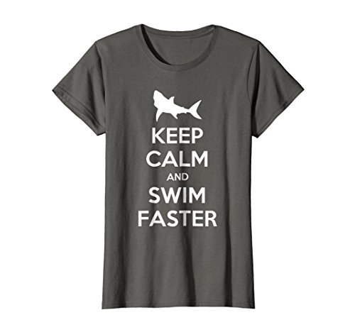 (Womens Keep Calm And Swim Faster Funny Swimming T-Shirt Large Asphalt)