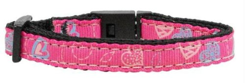 Crazy Hearts Nylon Collars Bright Pink Cat Safety Case Pack 24 Crazy Hearts N...