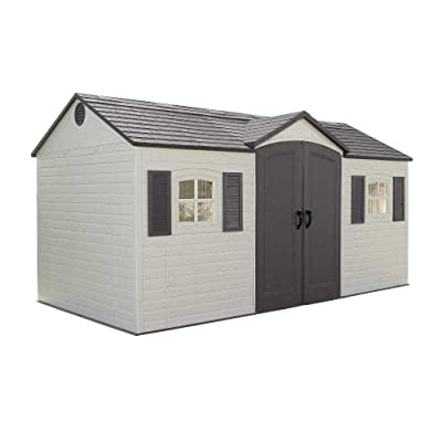 Lifetime 6446 15x8ft Outdoor Storage Shed with Shutters, Windows, and Skylights
