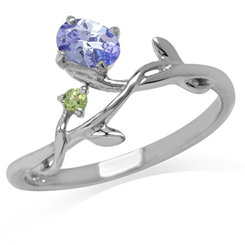 Genuine Tanzanite & Peridot White Gold Plated 925 Sterling Silver Vine Leaf Ring Size 7.5