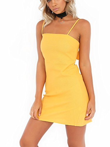 Simplee Womnen's Summer Casual Hollow out Plain Strap Bodycon Mini Dress, Light Yellow, 8/10, Large ()