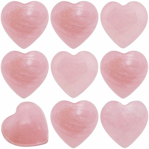 (SUNYIK Natural Rose Quartz Pocket Mini Puff Heart Worry Healing Palm Stone Pack of 10(0.5