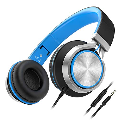 Wired Headphones Besom i77 Best Stereo Foldable Headband Headset with Microphone and Volume Control Over-Ear Earphones for Children Adults Teens Kids Running Sport Travel(Black/Blue)