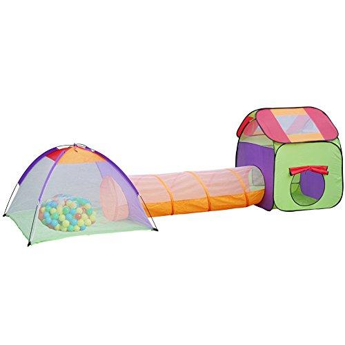 Kinderzelt 3 teiliges Spielzelt Spielhaus mit Krabbeltunnel + Tasche + 200 bunten Bällen