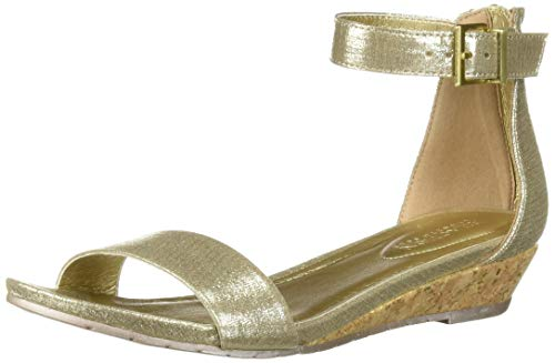 Kenneth Cole REACTION Women's Viber Low Wedge Ankle Strap Sandal, Soft Gold, 10 M US