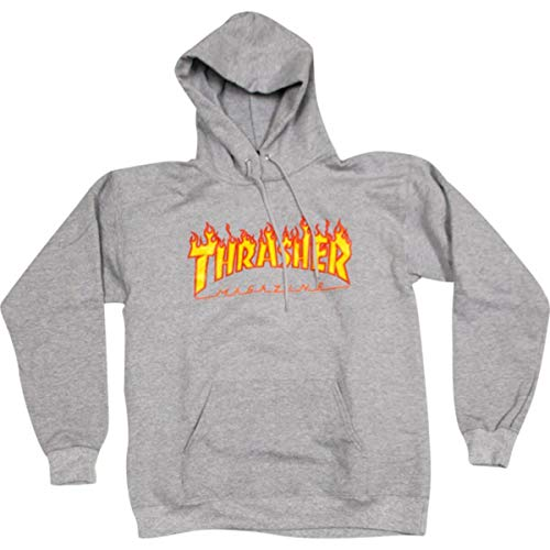 orologio 9058c 4062e Thrasher Magazine Flames Heather Grey Men's Hooded Sweatshirt - X-Large